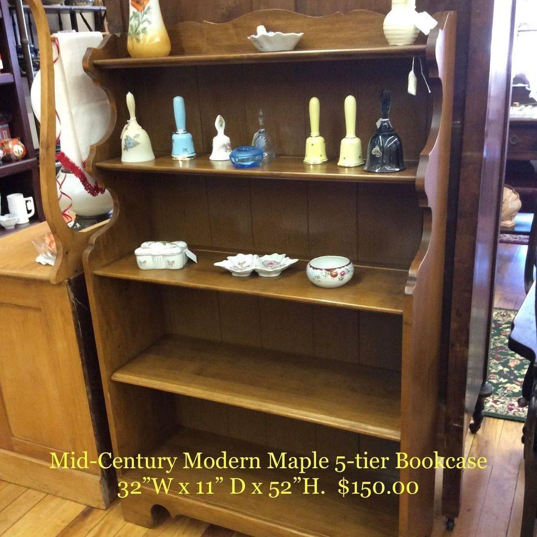 "Mid Century Modern Maple 5-tier Bookcase w/Adjustable Shelf  32""W x 11-1/4""D x 52""H   $150.00"