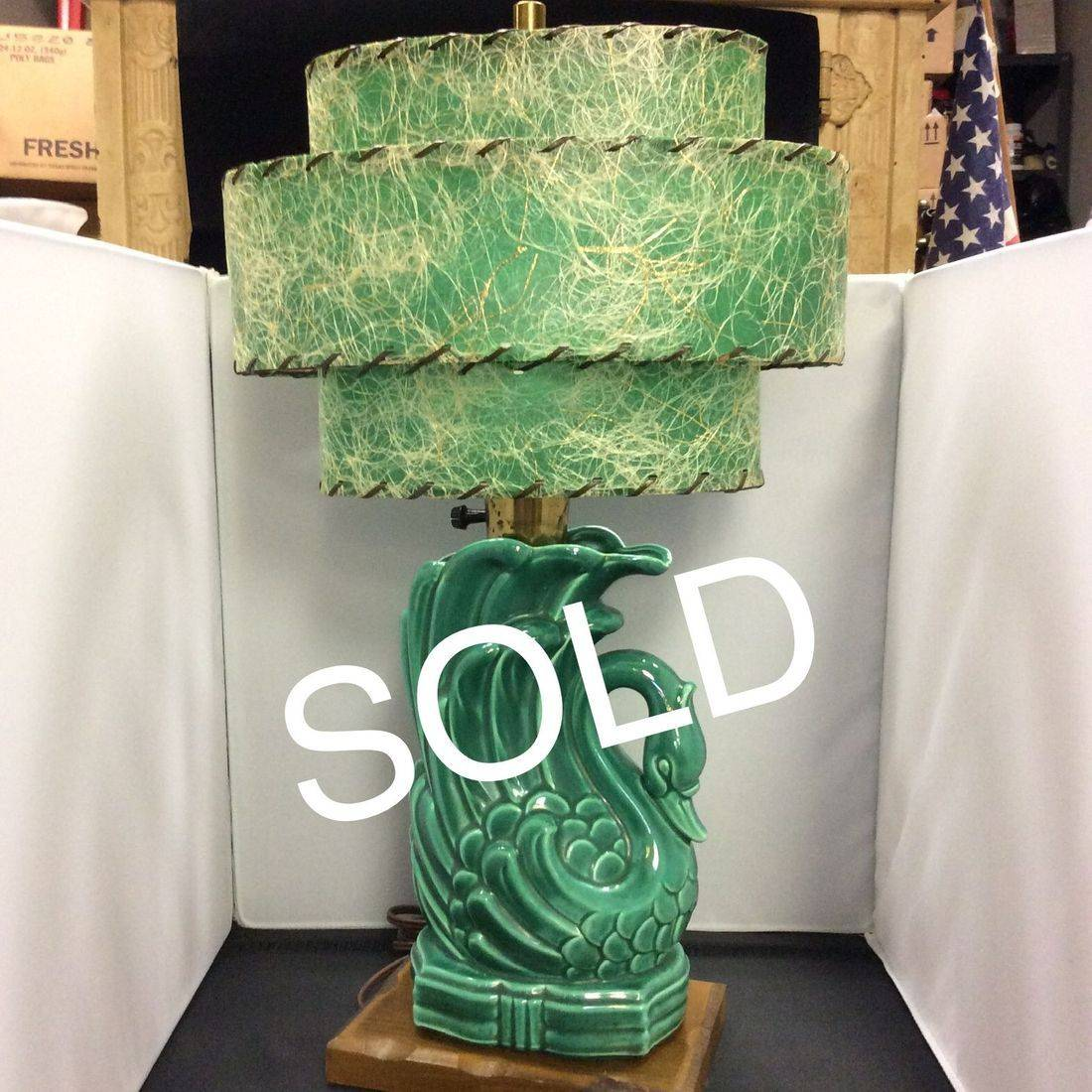 1950's Retro, Pottery, Swan Table Lamp  $125.00