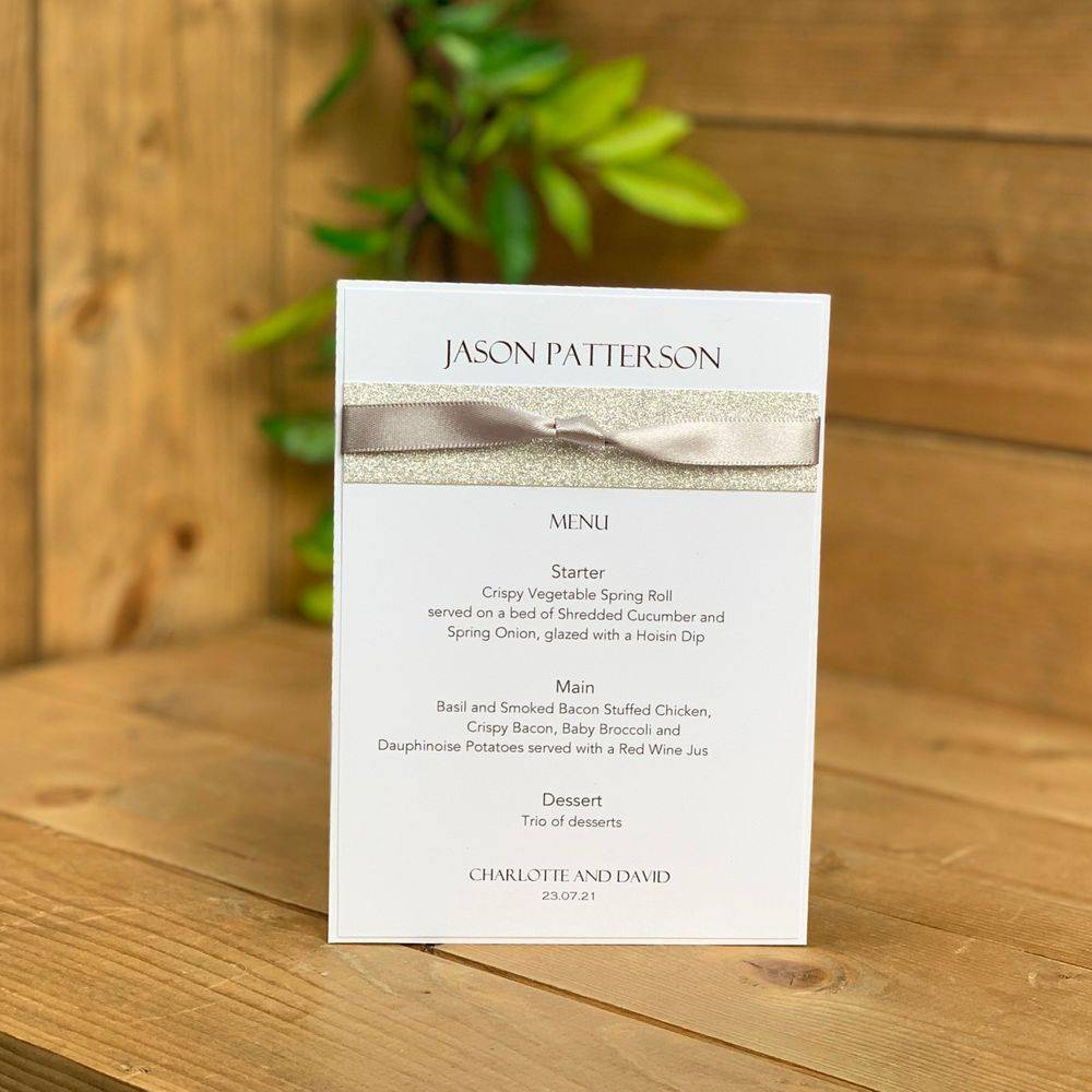 Wedding Menu with guest name - White with silver glitter and silver grey ribbon