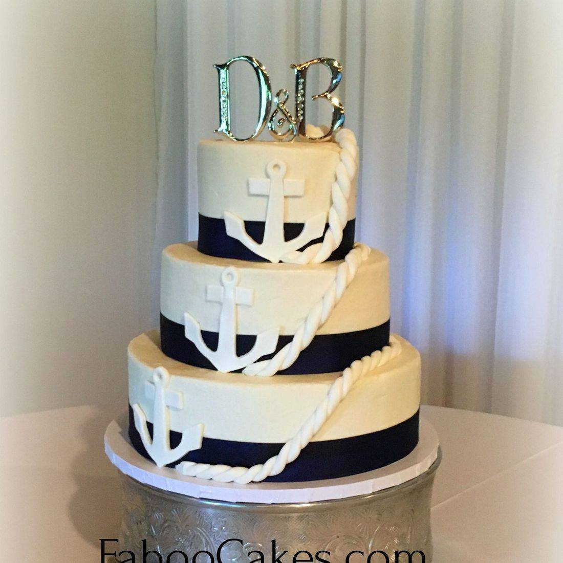 Buttercream Wedding Cake Navy Blue Nautical Anchor  southern Chic