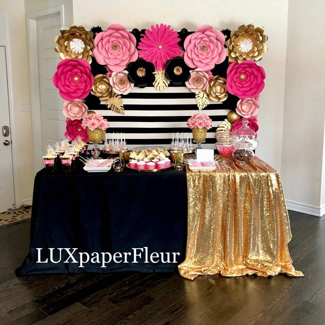 Kate Spade Inspired Paper Flower Backdrop and Sweet Table
