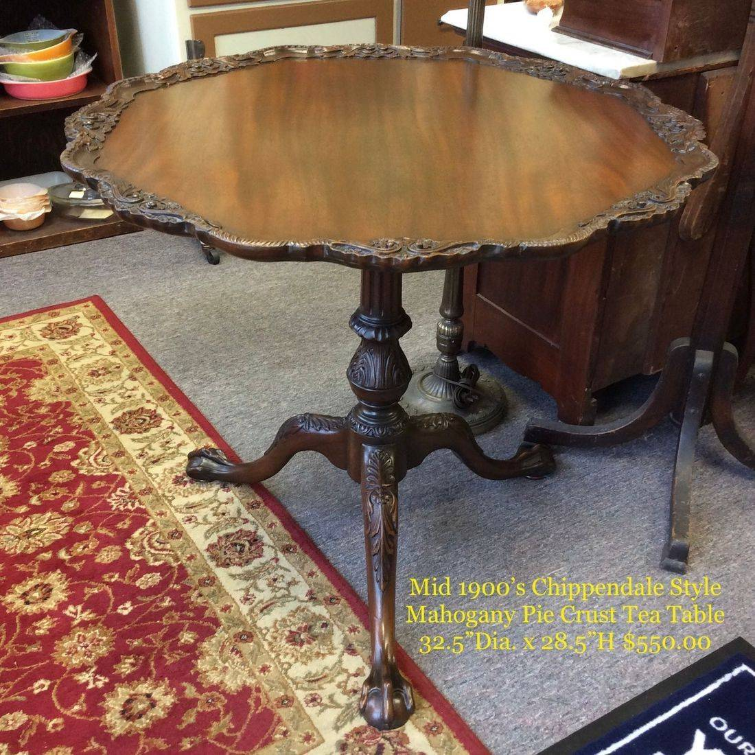 "Mid 1900's Chippendale Style, Mahogany Pie Crust Tea Table w/Floral Carvings and Ball & Claw Feet, 32-1/2"" dia. X 28-1/2"" Hgt.   $550.00"