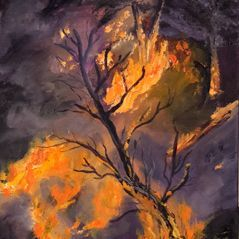 """10x20"""" oil painting, fire"""