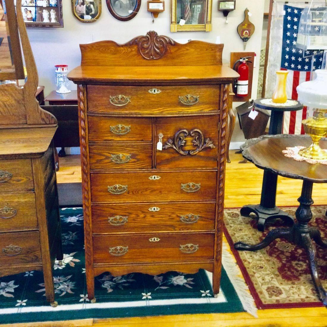 "Early 1900's Oak 6-Drawer High-Boy Dresser w/Hat box  32-1/2""W x 18""D x  49""H (56"" to backsplash)   $325.00"