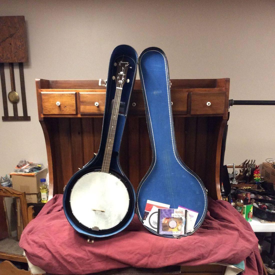"""1950's Harmony Reso-Tone 4-String Tenor Banjo w/ 13"""" Bakelite Resonator, Case & Extra Strings  33"""" Lngth., 12"""" Dia. Pot   $150.00"""