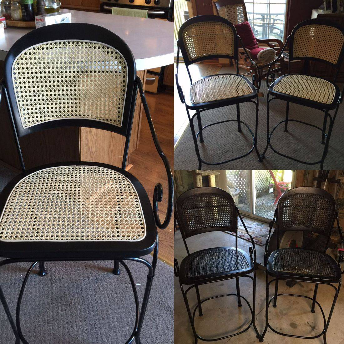 Wrought Iron and Pressed Cane Bar Stools done by Hank's Cane & Rush Restoration