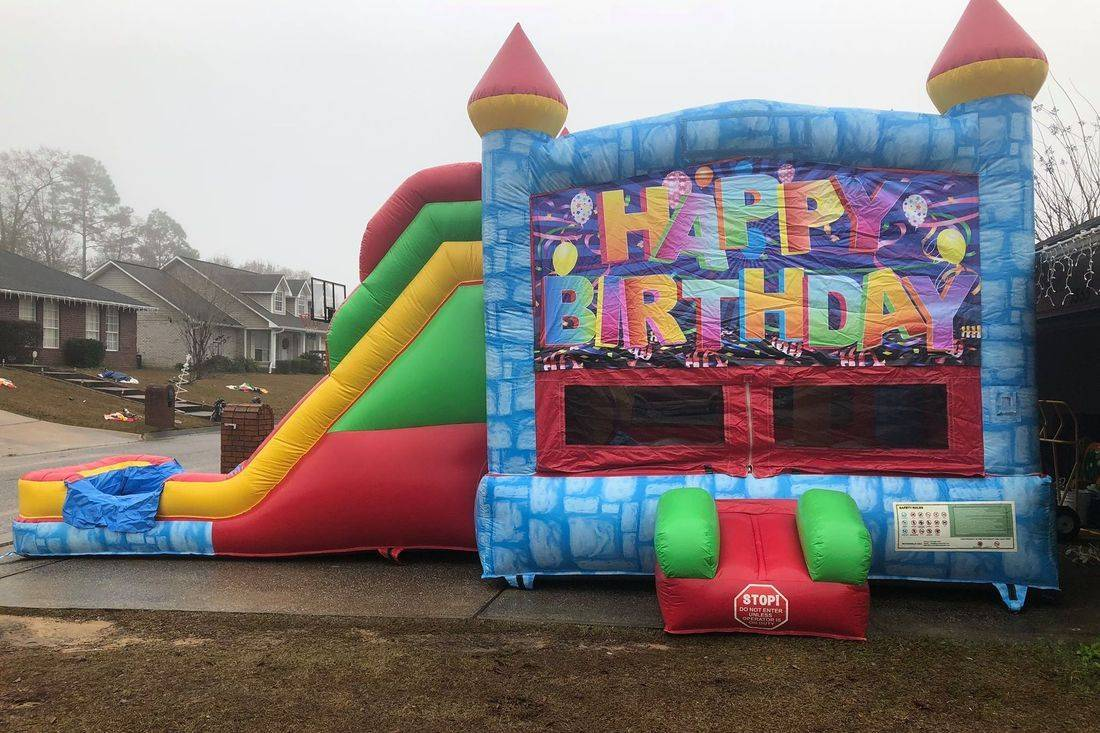 blue castle happy birthday bounce house slide combo inflatable party rental