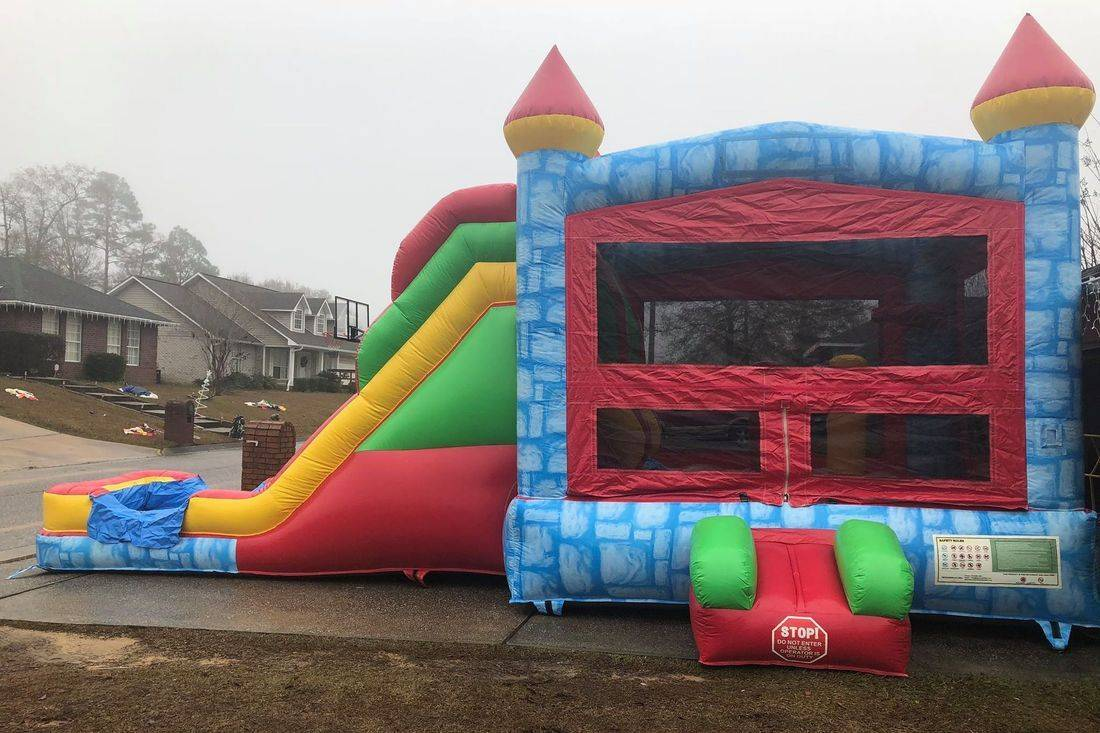 blue castle bounce house waterslide combo inflatable party rental