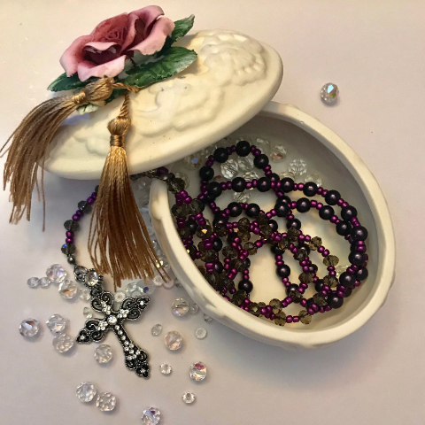 Purple Rosary, Comfort Beads with Cross Necklace