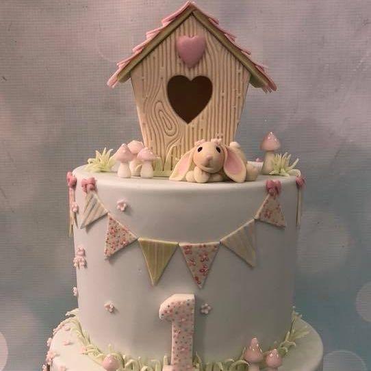 Bunny Birthday Cake Birdhouse 1st Bunting Cherry Blossom