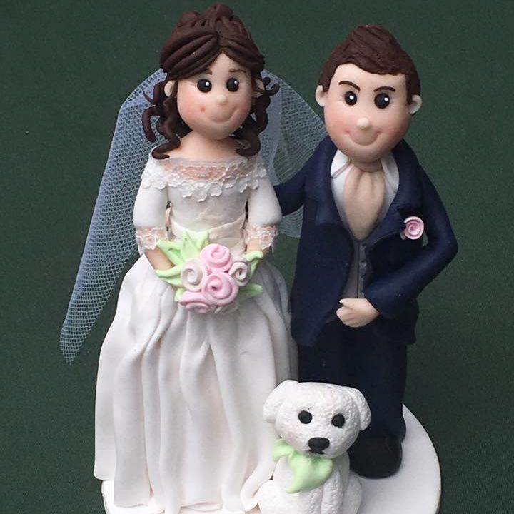 Bride Groom Pet Dog Wedding Topper Keepsakes Clay Personalised Cake