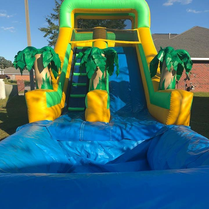 Green palm tree waterslide inflatable