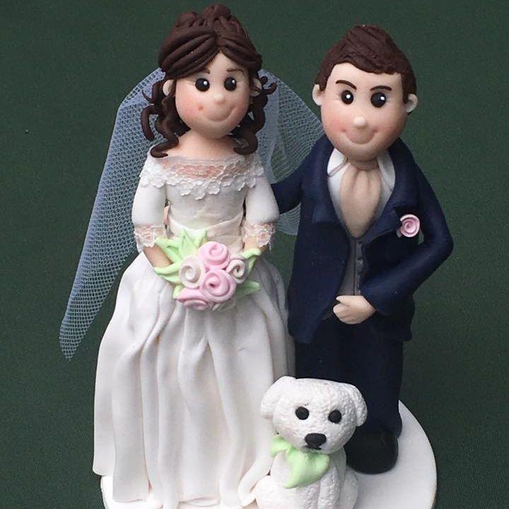 Bride Groom Pet Dog Wedding Topper Keepsakes Clay Personalised Cake