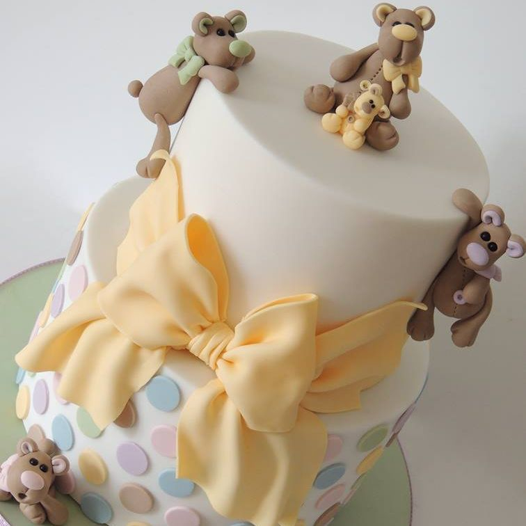 Teddy Bear Baby Shower Cake Novelty Celebration Teddy Bear Bow Polka Dot