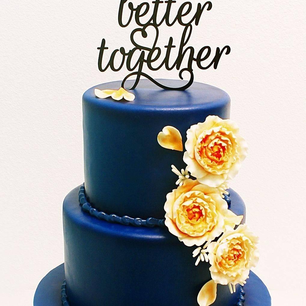Custom blue peach wedding  Cake Milwaukee