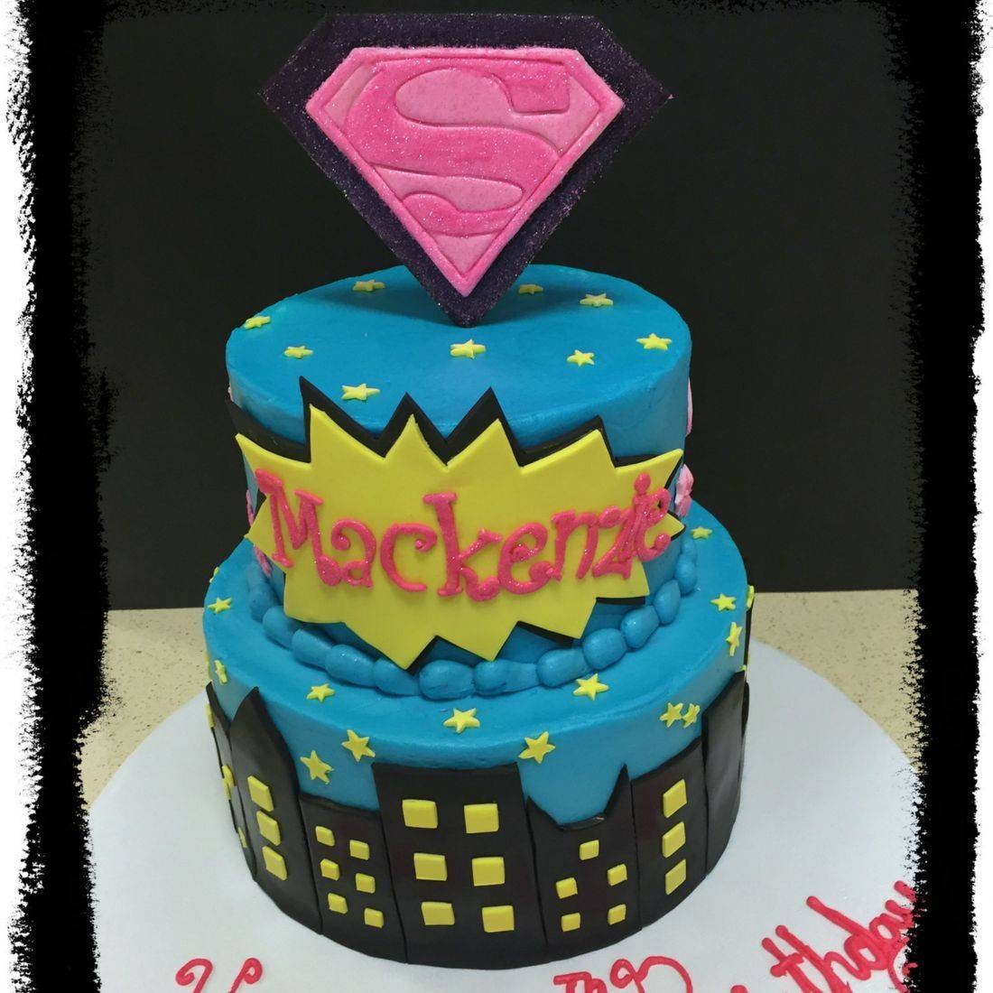 supergirl  birthday cake buttercream supergirl 2 tier cake