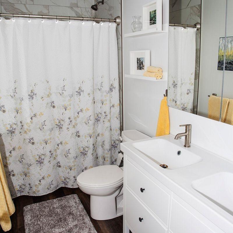Bathroom, interior design, white cabinets, retired living