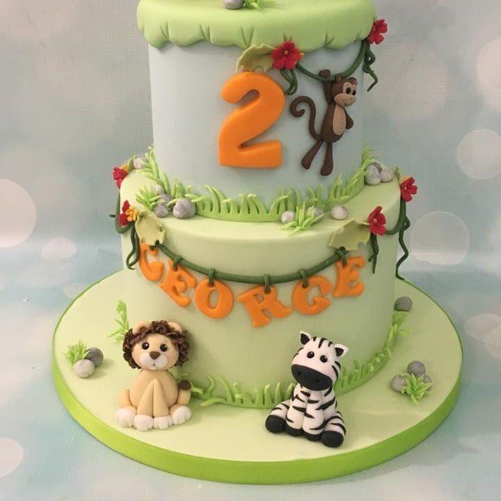 Jungle Birthday Cake 2 tier Lion Zebra Monkey Giraffe Elephant Vines