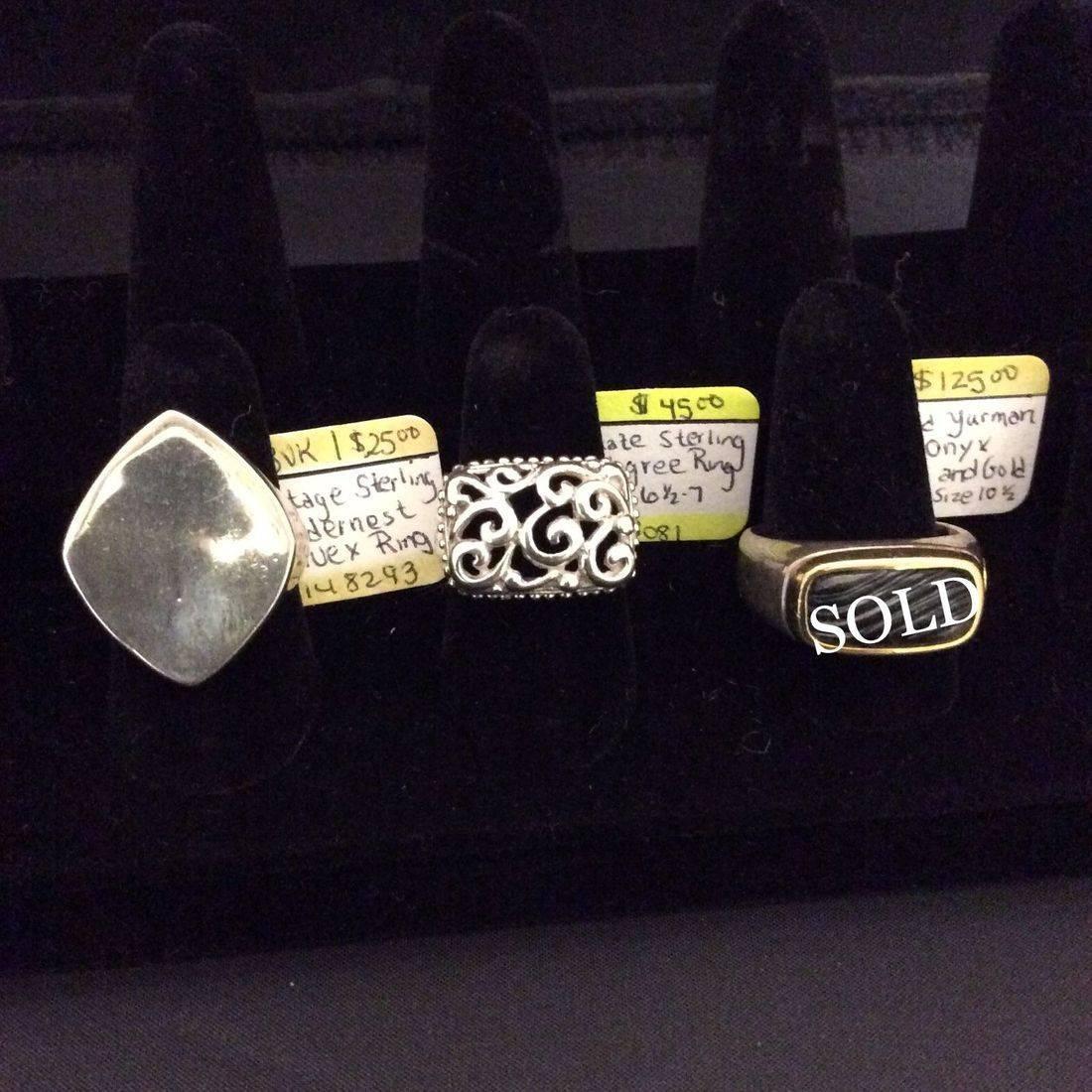 Vin. Sterling, Modernist, Convex Ring  $25,  Ornate Sterling, Filigree Ring  $45,  David Yurman, DY Onyx, Sterling & Gold Ring  $125.00