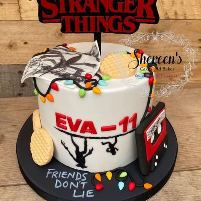 Stranger Things Birthday Cake friends don't lie waffles tape lights