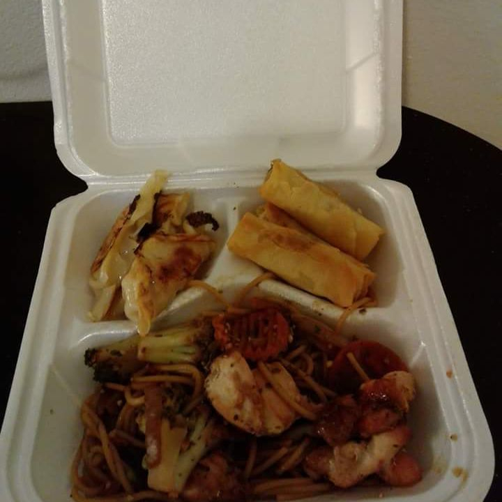 Shrimp lo-mein, pot stickers, spring rolls
