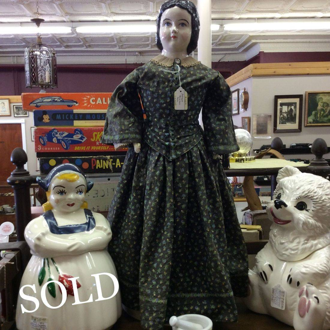 "Antique 23"" Porcelain Doll w/Composite Arms & Hands and Cloth Legs & Feet   $125.00"