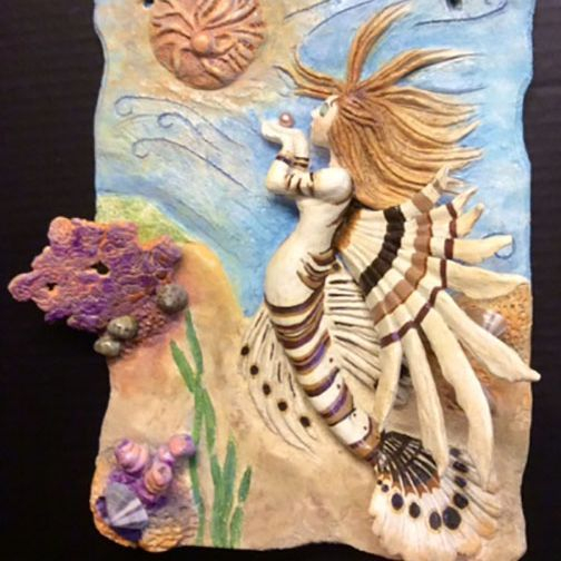 "CMiles  - Lioness Mermaid - paperclay- 12""x10""x3"" (sold)"