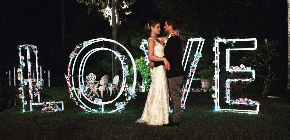 Giant Love Letters with fairy lights - 1.5m high 5m long