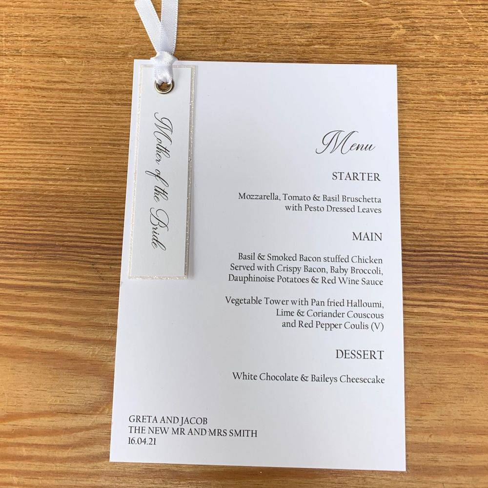 Glitter Belle - Champagne Glitter and Racing Green Menu and Place Name Combo