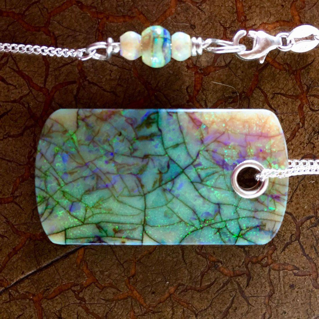 "Cultured Opal Dog tags 1.5"" x .75"" on 17"" 14k gold filled or Sterling Silver chain $95.00 USD"