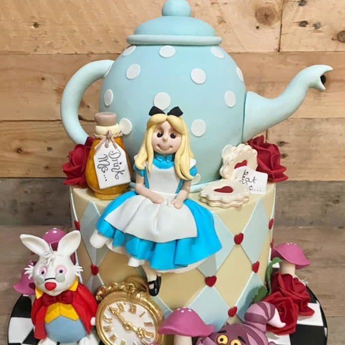 Alice in Wonderland Birthday Cake Rabbit Cheshire Cat Teapot Rose Watch Clock