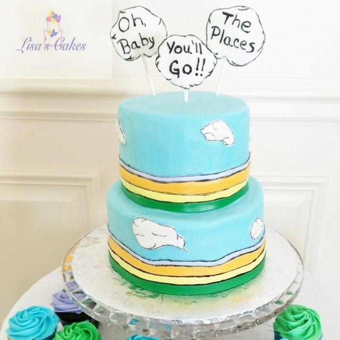 Oh the Places You'll Go Baby Shower Cake, Dr. Seuss baby shower cake