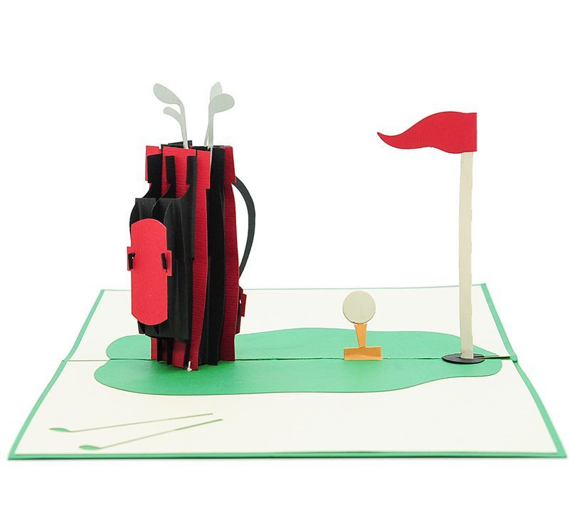 Golf Set Pop up Card (Red)