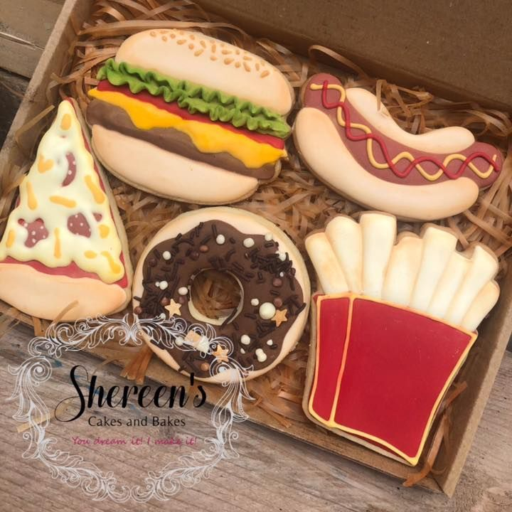 Iced Cookies Biscuits fast food take away pizza slice burger hotdog hot dog fries chips donut
