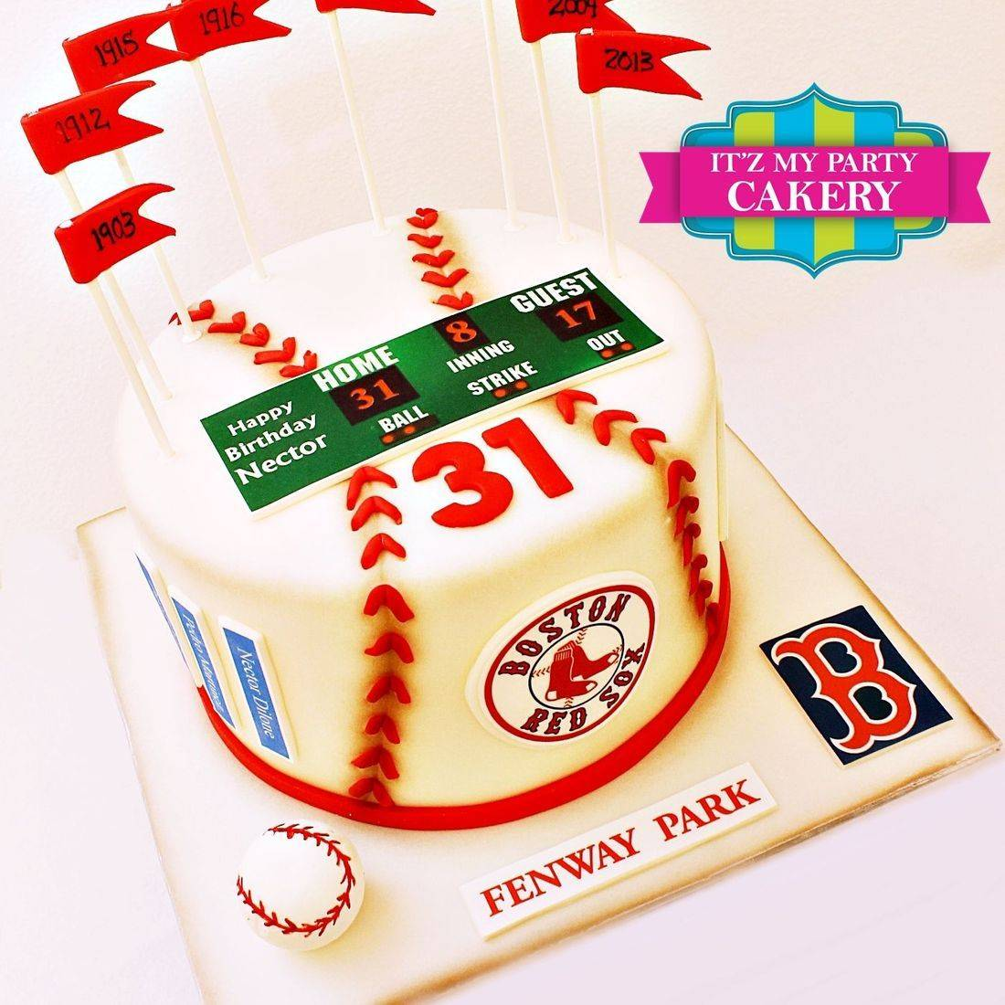 Custom Baseball Fenway Park Boston Red Sox Flags Cake Milwaukee