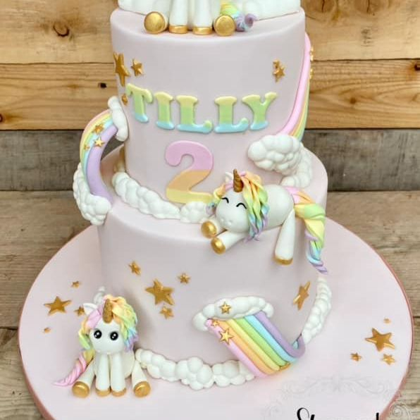 Unicorn Birthday Cake Pastel Rainbow Gold Stars