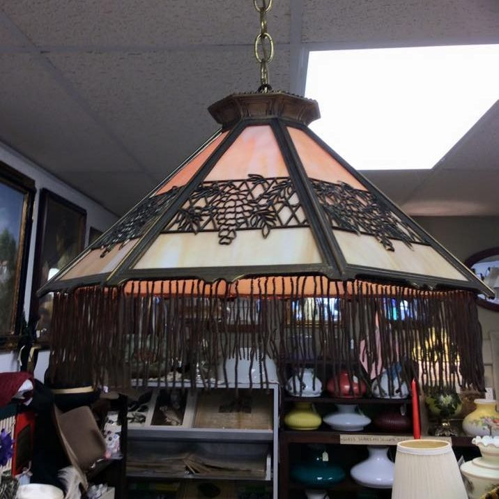 1920's/30's Bradley & Hubbard Hanging Slag Lamp w/Brass Spun Tassels   $450.00