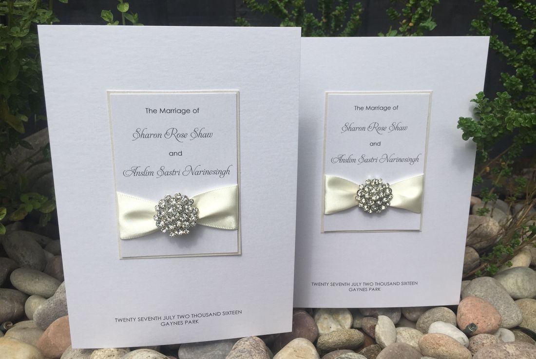 Luxury Order of Service Booklet White with Turquoise Ribbon