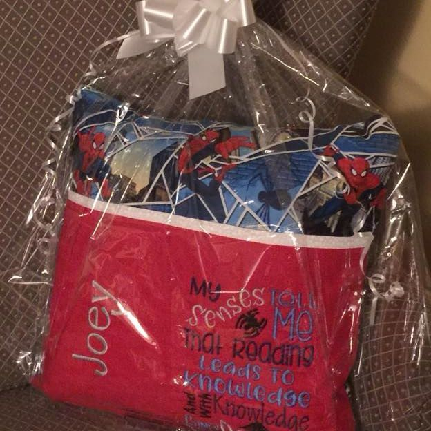Custom Spider Man reading pillow
