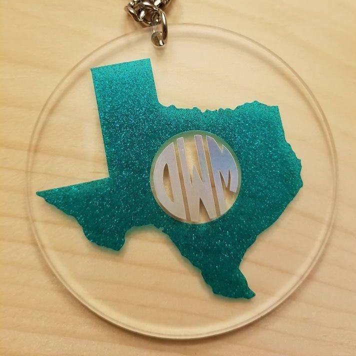 keychain monogram texas personalized