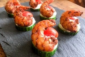 This is Arista Catering's Tandoori Shrimp Canape