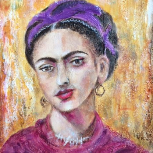 encaustic portrait, Frida Kahlo painting, Frida Kahlo portrait, encaustic art, encaustic artist, mixed media artist