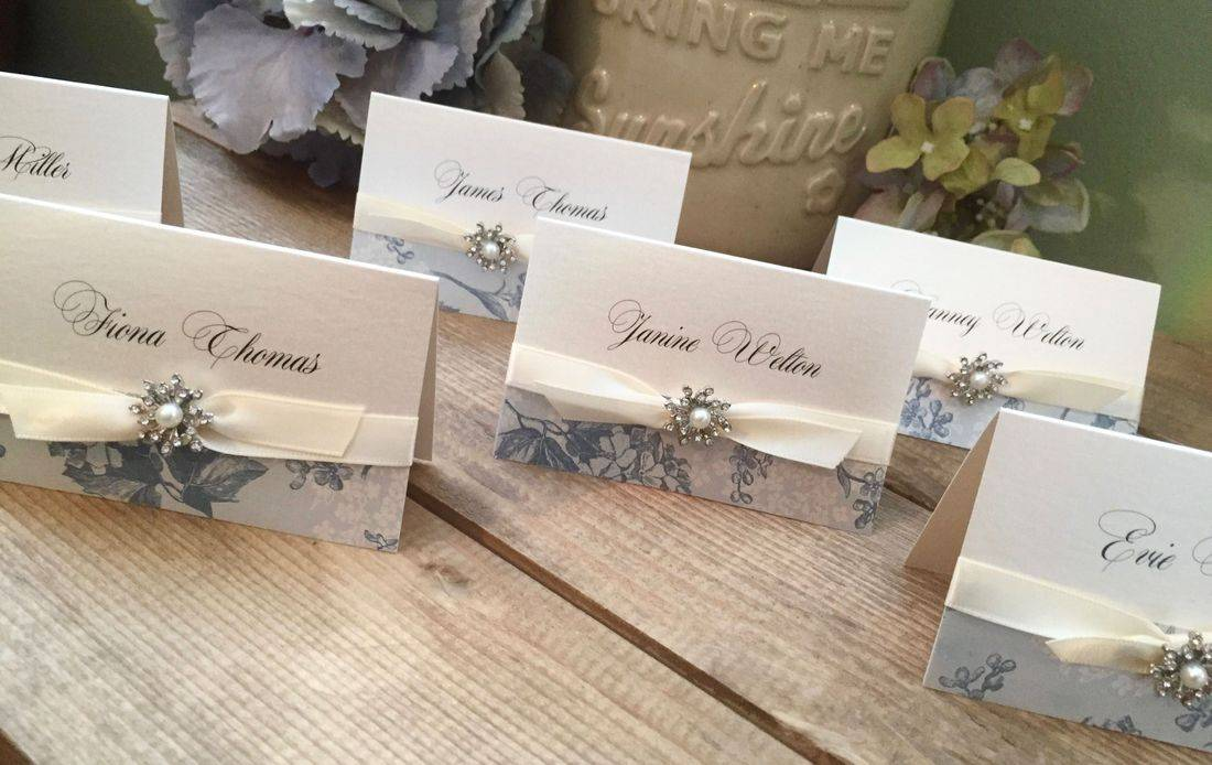 Vintage wedding Place Names with ribbon and luxury embellishment