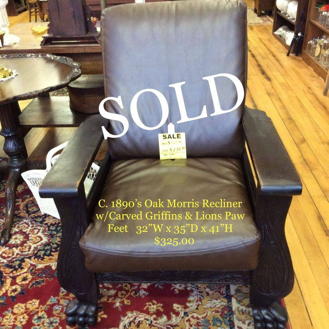 19th Century, Oak Morris Recliner w/Carved Griffens & Lion's Paw Feet, Replacement Faux Leather Cushion's   $325.00