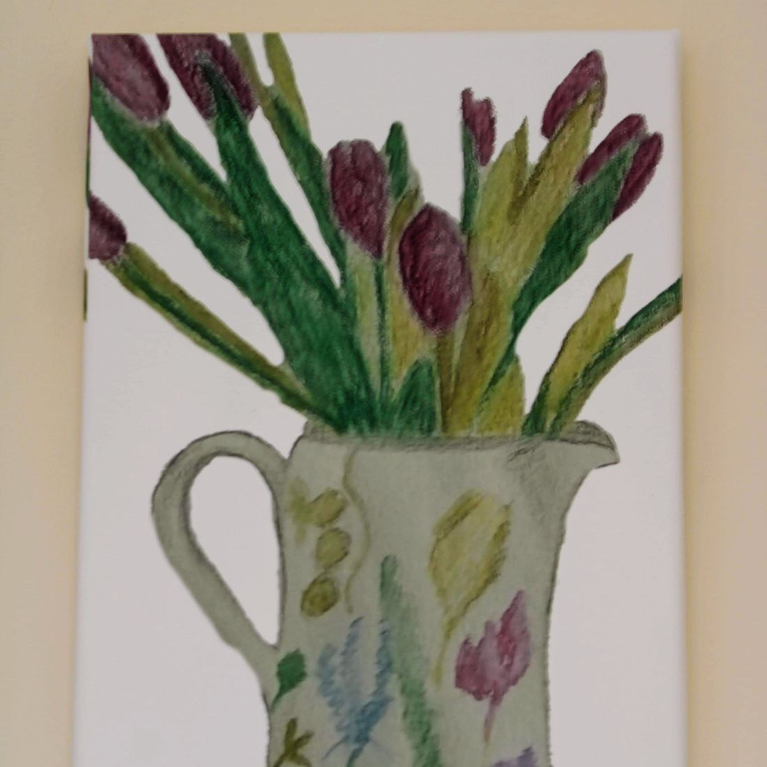 Front view of Canvas Jug with Tulips