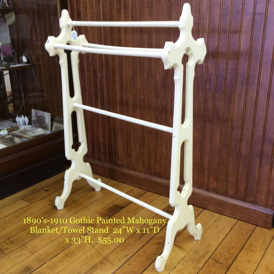 """1890's/1910 Gothic Painted Mahogany Blanket/Towel Stand   24""""W x 11""""D x 33""""H.  $55.00"""