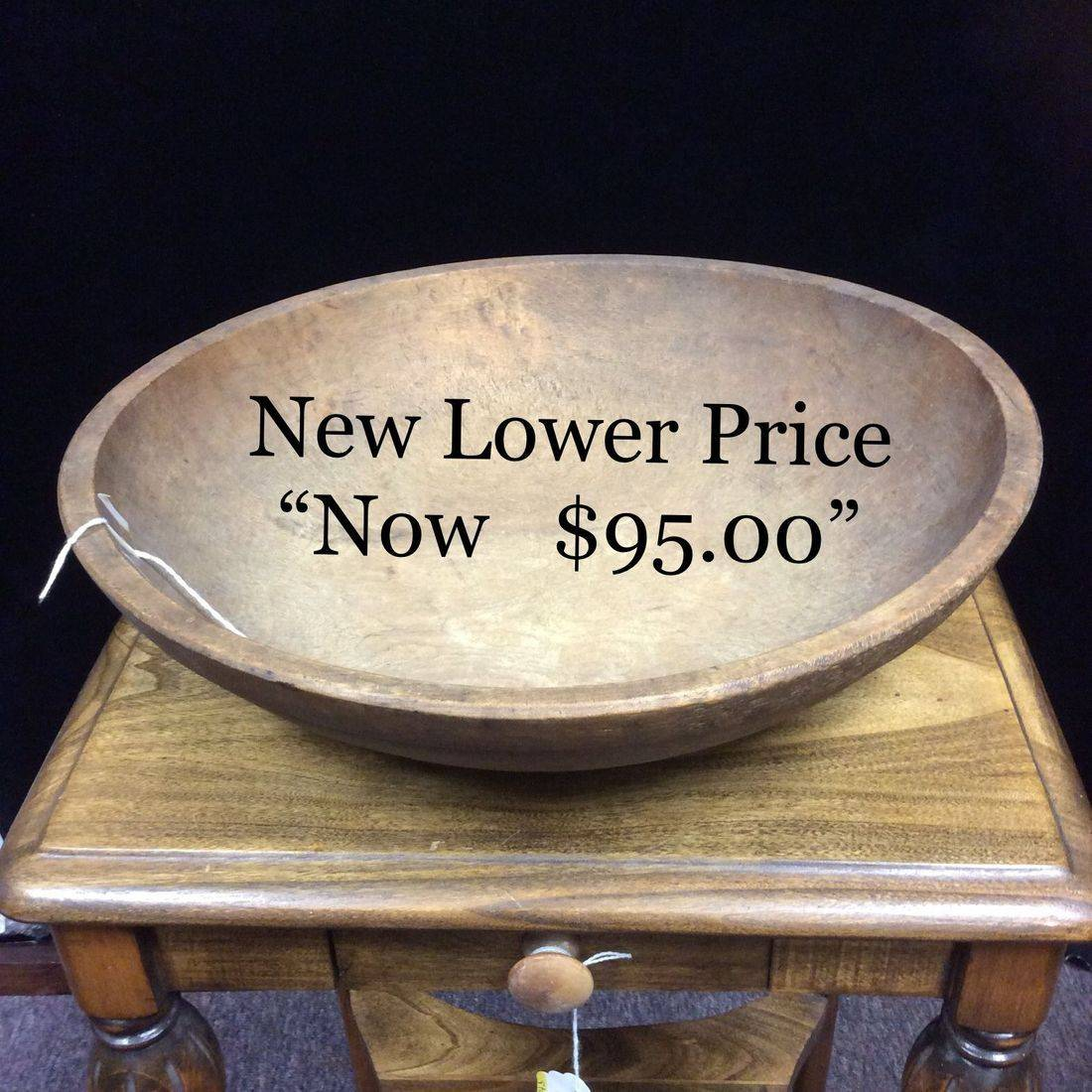 "Very Early Primitive Birdseye Maple Dough Bowl (semi-oval) 15"" X 14-18""d X 3-3/4""h.  $135.00  ""Now $95.00"""