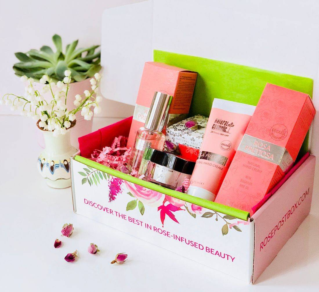 Rosa Pretiosa Gift Box, Clean Rose Beauty, Bulgarian Rose Oil, Rose-infused Beauty, Rose Skincare, Eco-conscious rose beauty, rosepost box