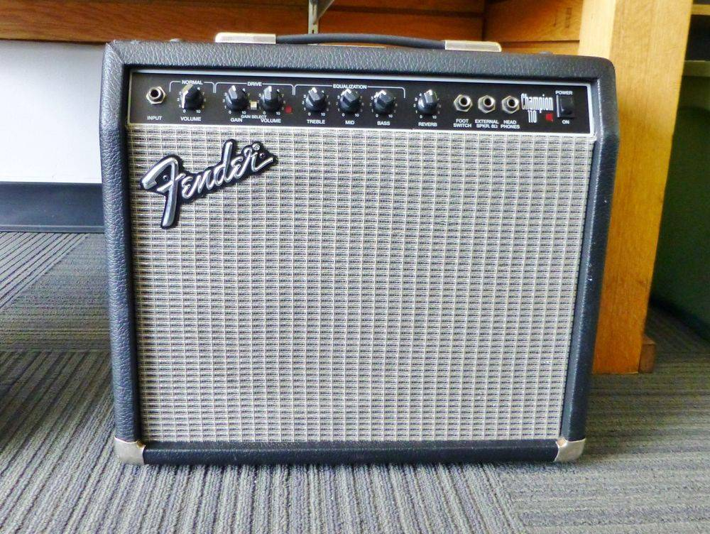 close up picture of a Fender Champion guitar amp