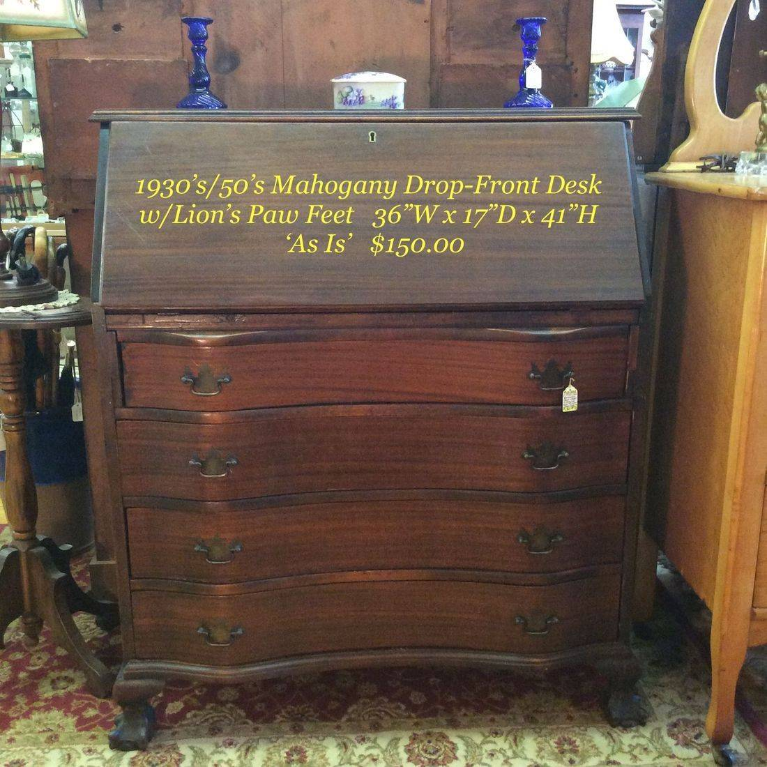 """c. 1930's-1950's Mahogany Drop-Front 4-Drawer Desk w/Lions Paw Feet 'As Is' (drawers have issues)  35-1/2""""W x 17""""D x 41""""H.  $150.00"""